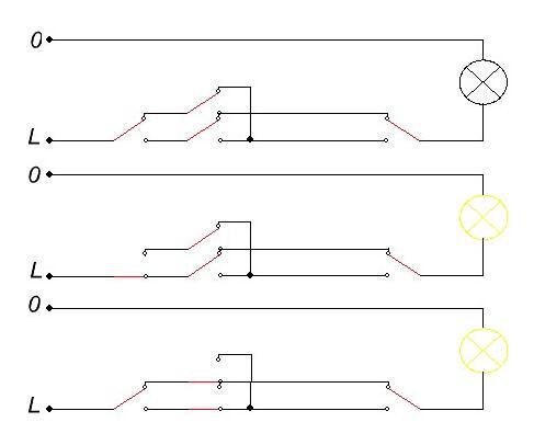 Проходной выключатель, схема проходного выключателя, подключение проходного выключателя.
